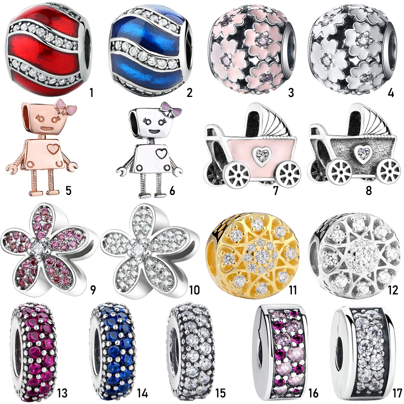 Fashion Authentic 925 Silver Charm Pendant Bead Fit Original Pandora Charms Bracelets Chain Bangle With Clear Cubic Zirconia(China)