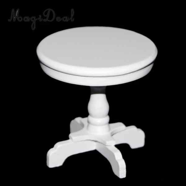 1/12 Scale Outdoor Patio Garden Coffee Tea Table for Dollhouse Living Room Bedroom Wooden Round White Miniature Furniture Acc