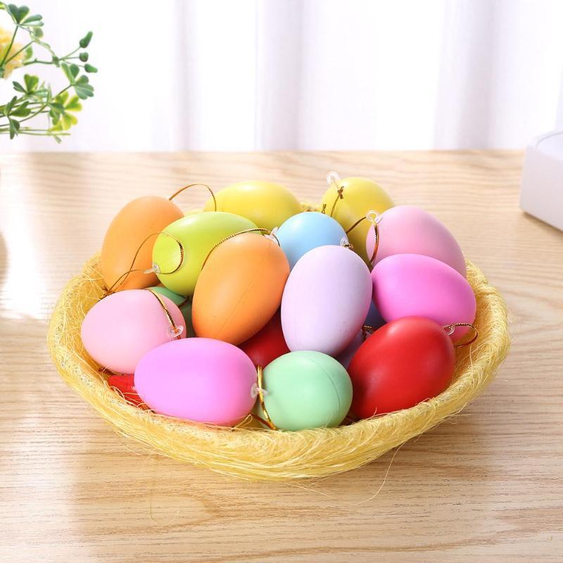 20pcs Solid Color Easter Eggs DIY Hand Painted Eggs Easter Decorative Toys Children Kids Pendants Ornaments Colorful Decoration
