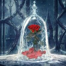 LED Beauty Rose and Beast Battery Power Red Flower String Light Desk Lamp Romantic Valentine's Day Birthday Gift Decoration