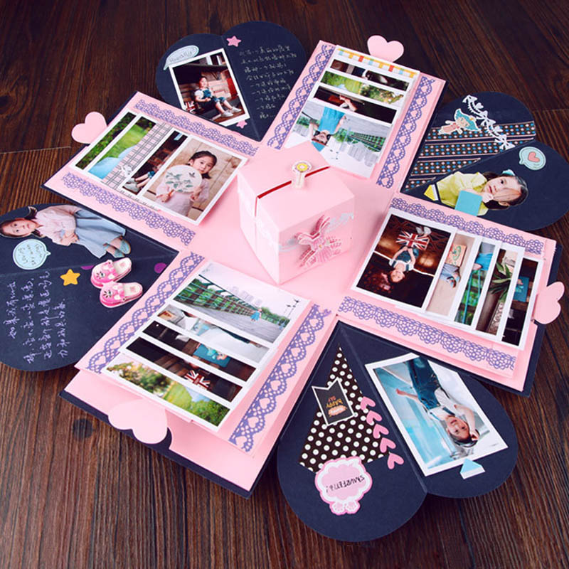 Us 14 32 30 Off Birthday Surprise Gift Photo Album Sticker Valentine Day Wedding Gift Box Explosion Box Surprise Boxes Wrapping Supplies In Gift