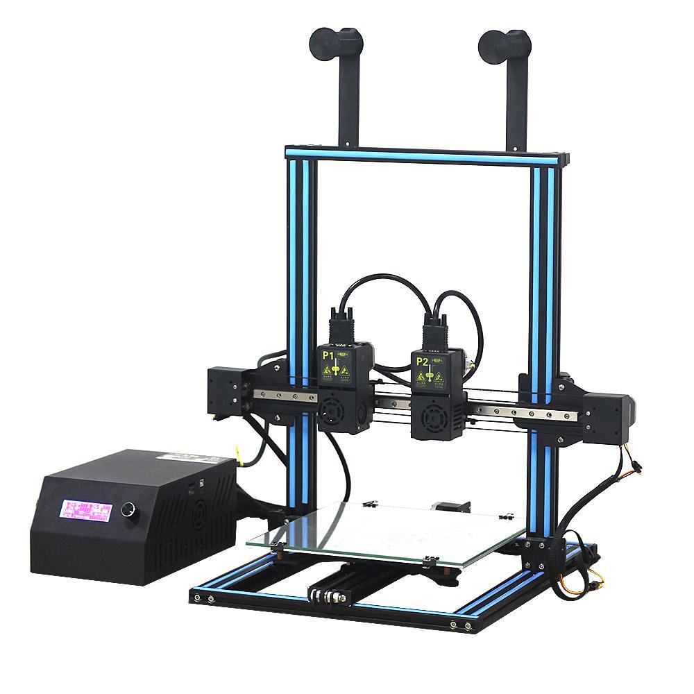 Extrudeuse double 3D kit imprimante 300*300*400mm Taille D'impression Support Double Buse D'impression avec 7-axe Moteur carte mère