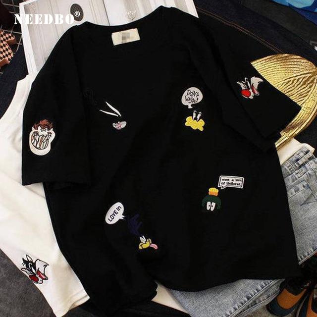 NEEDBO Women T shirt Casual Cotton Oversize T-shirt Femme Short Sleeve O-neck Tops Streetwear Harajuku Tshirts Summer Woman 2019