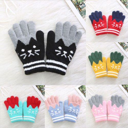Children Baby Full Finger Leaf Gloves Winter Warm Mittens Stretchy kids Gloves