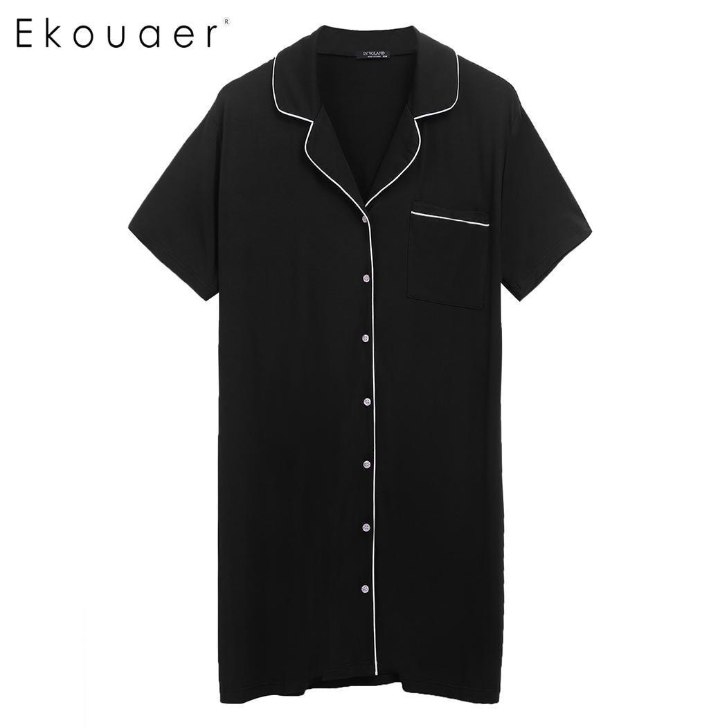 Ekouaer Cotton   Nightgown     Sleepshirt   Women Short Sleeve Top Boyfriend Nightshirts Sleepwear 5XL Night Dress Homewear