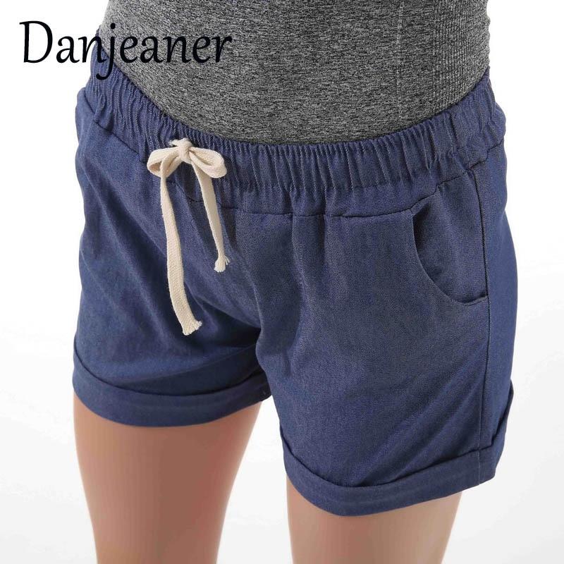 Danjeaner Women Cotton Shorts 2018 Summer Fashion Candy Color Elastic Waist Drawstring Short Pants Woman Casual Shorts
