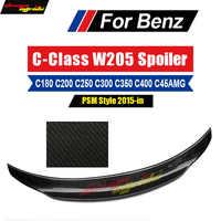 Para mercedes c-class w205 c205 2-dr psm estilo fibra de carbono tronco spoiler desportivo prolongado alto pontapé duckbill versão asa 2015-18