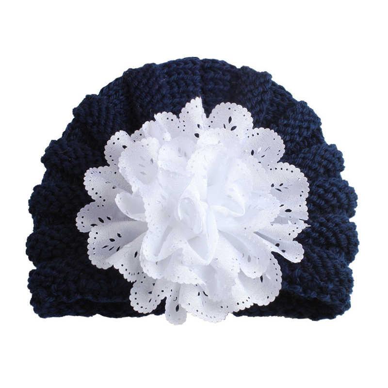 2019 ทารกแรกเกิดเด็กวัยหัดเดินเด็กทารกเด็กหญิงถักหมวกดอกไม้น่ารักฤดูหนาว Warm Big ดอกไม้หมวกสกีหมวก Photo Prop ใหม่