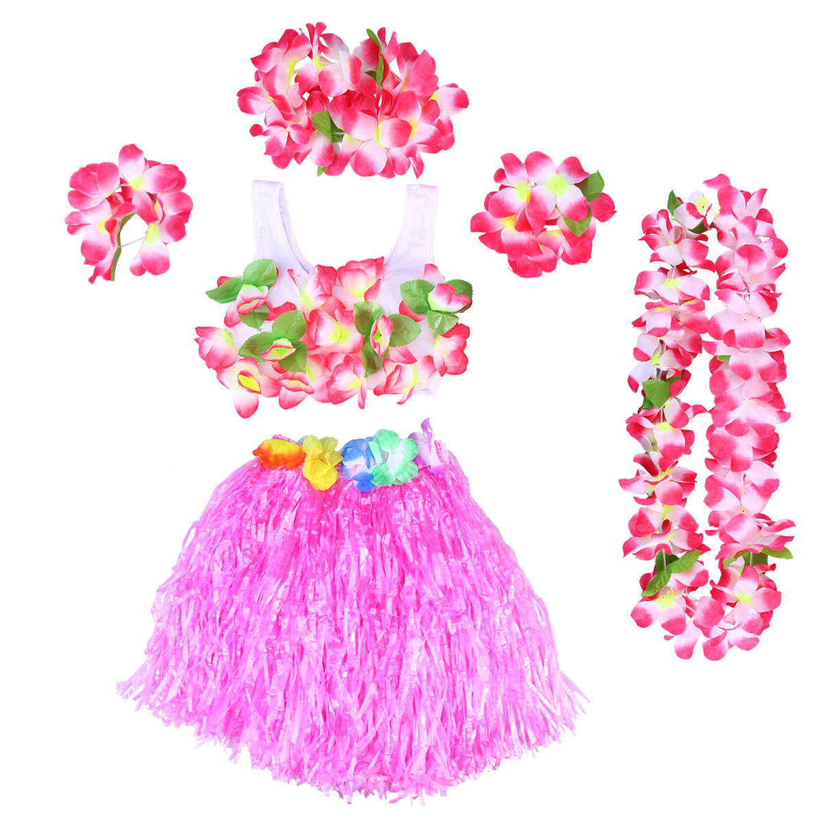 4 pcs//set Hawaiian Tropical Hula Luau Grass Dance Head Neck Wrist Garland  HI