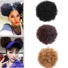 New Style Synthetic Afro Puff Drawstring Ponytail Short Kinky Curly Hair Bun Extension Donut Chignon Hairpieces Wig Hair