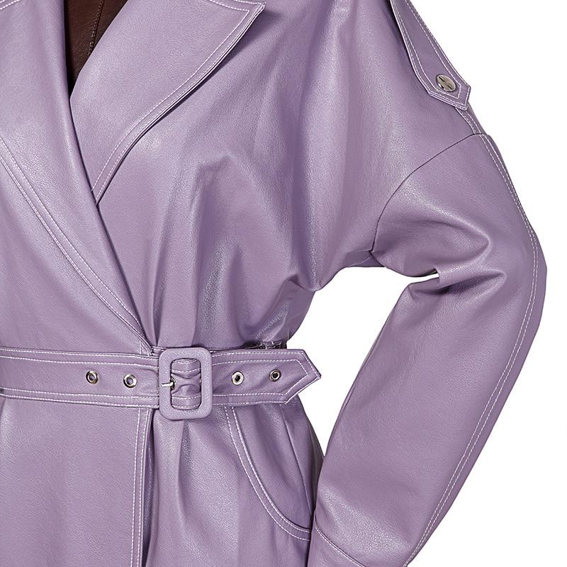 Pu Cuir 2019 Col Haute Manches En Printemps down Ace Purple eam Ld856 Taille Longues Réglable Violet Couleur Femme Turn Longue 6wxqa