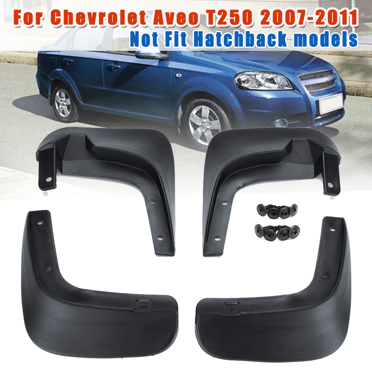 for Chevrolet <font><b>Aveo</b></font> <font><b>T250</b></font> 2007 2008 2009 2010 2011 Car Mud Flaps Front Rear Fender Flares Auto Mudflaps Mudguards Splash Guard image