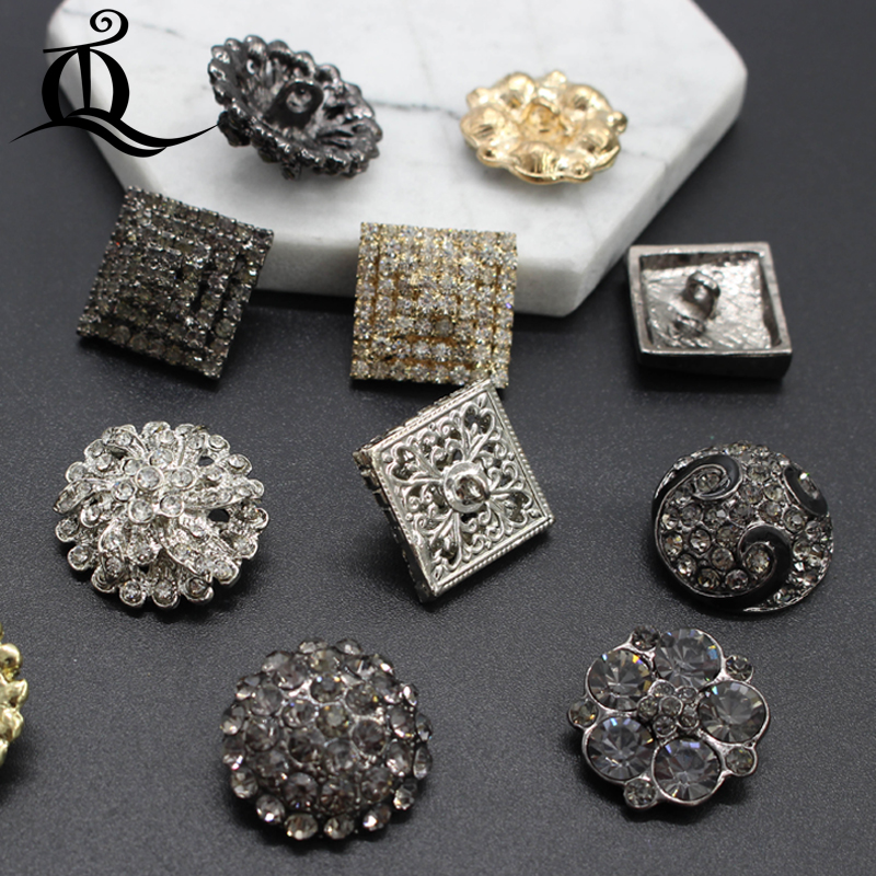 Female Black Gold Diamond Rhinestone Buttons Star Flower Decorative Buckle Mink Coats Cardigan Sweater Buckle Big Metal Buttons