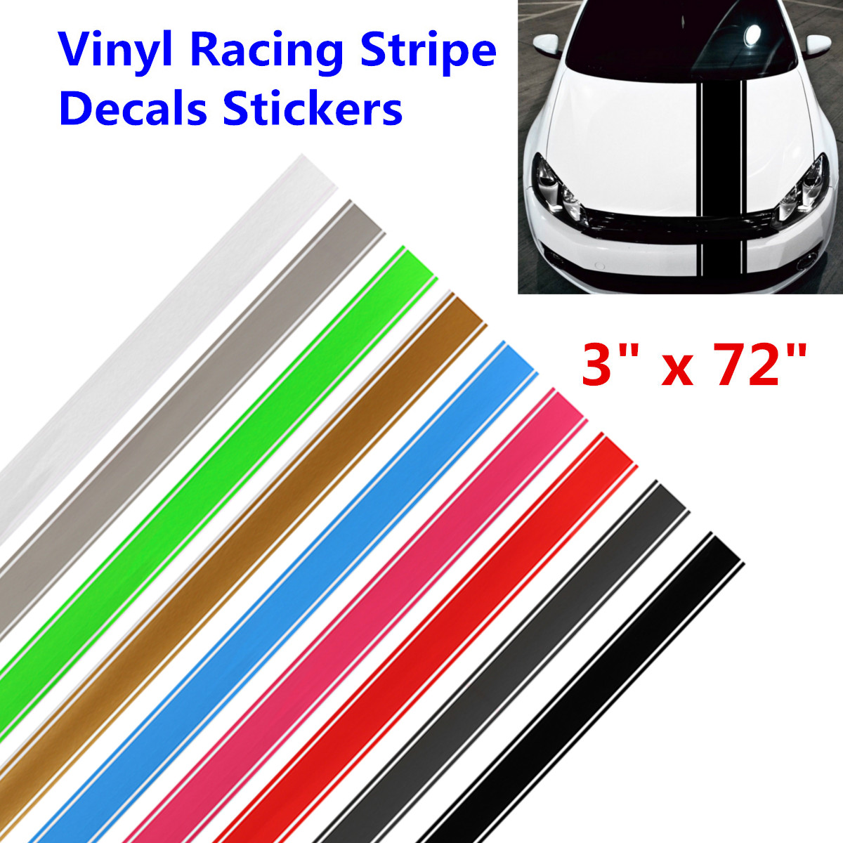"""4.5/"""" Wide With 1//4/"""" Sides Racing Stripe Vinyl Decal Sticker Vehicle Graphics"""