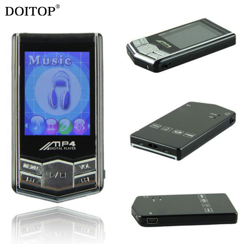 DOITOP Ultra thin luxury black metal MP3 MP4 Music Player 16GB 32GB Memory Radio Video Player Support multiple language FM Radio