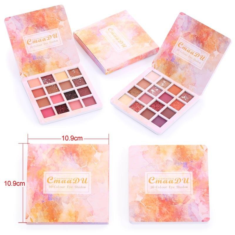 Cmaadu 16 видов цветов матовые блестящие тени для век Палитра кисти для макияжа мерцающие бриллиантовые дымчатые тени для век Пудра пигмент косметика TSLM1