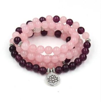 Bracelet Amethyste Quartz Rose