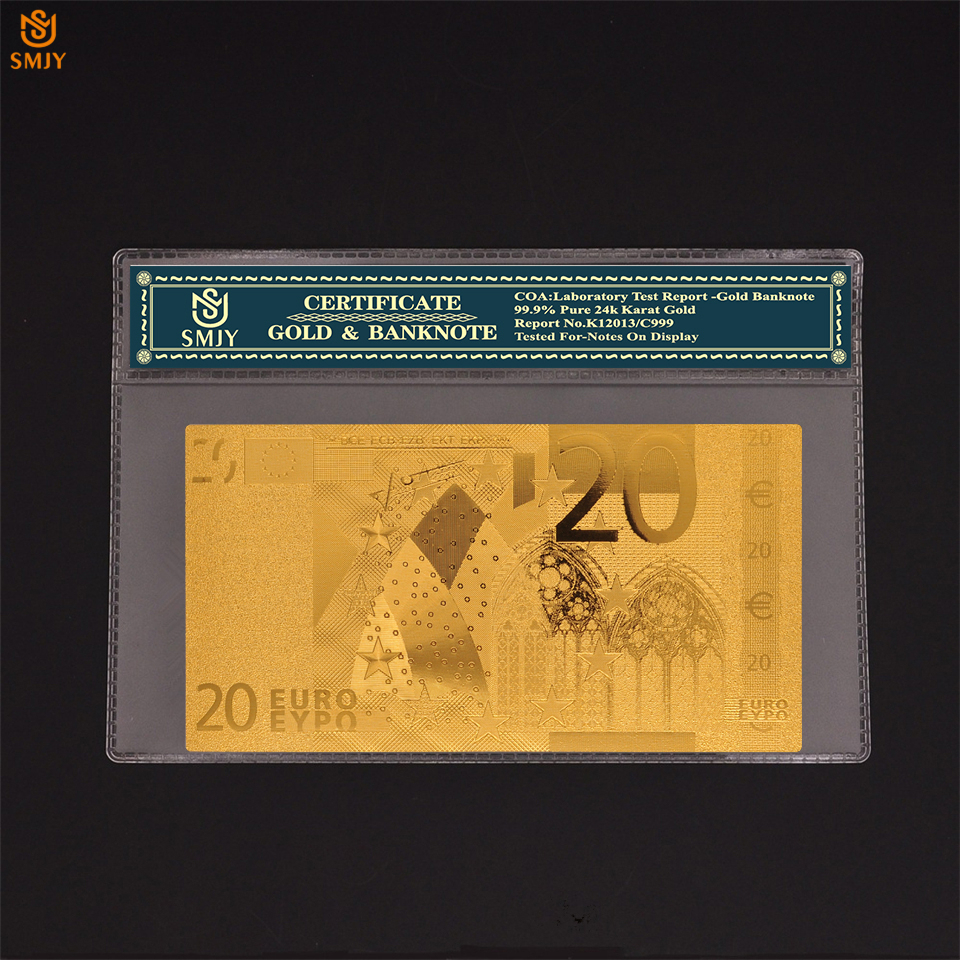 24k Gold <font><b>Banknote</b></font> 20 <font><b>Euro</b></font> Color <font><b>Banknotes</b></font> Replica <font><b>Real</b></font> Paper Money Collection With COA Protection image