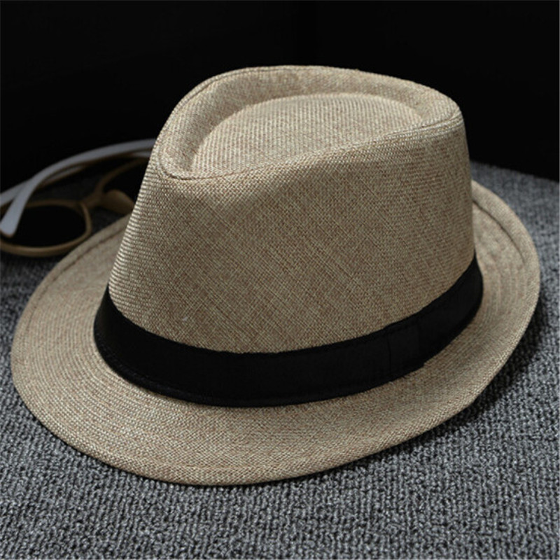 Hot Unisex Women Men Fashion Summer Casual Trendy Beach Sun Straw Panama  Jazz Hat Cowboy Fedora hat Gangster Cap-in Sun Hats from Apparel Accessories  on ... acef12fe1069