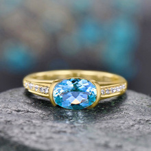 925 silver jewelry diamond rings Rose gold and costume topaz Sapphire gold-plated zircon ringen Malachite crystalB2274