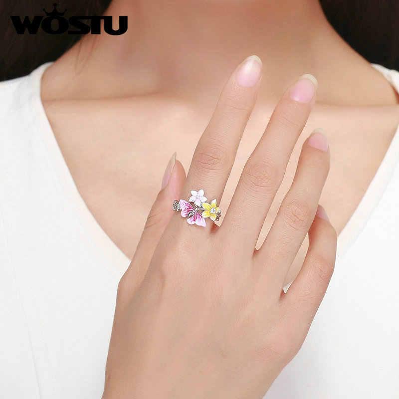 WOSTU מקורי כסף צבע פרפר & פרח צבעוני אצבע טבעת מסנוור תכשיטים מתנת אירוסין חתונה ZBFR199