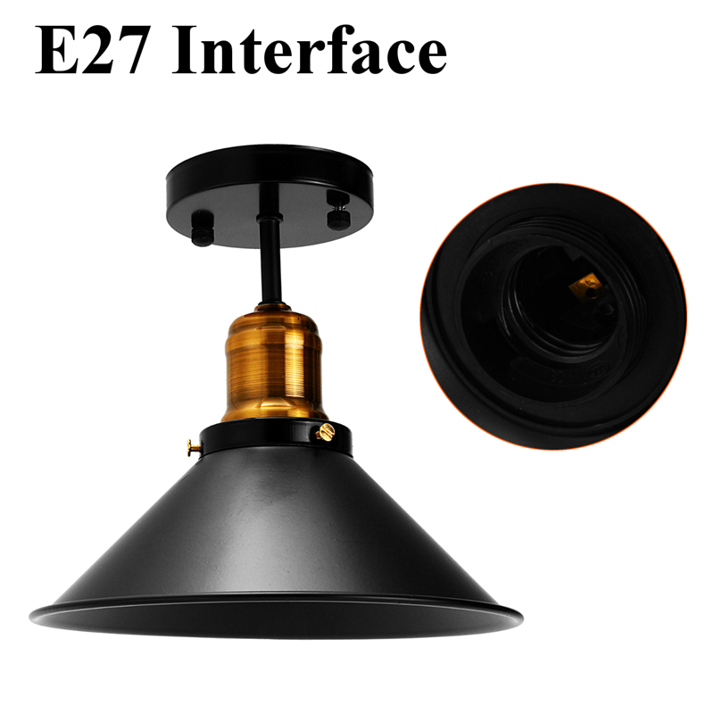 Black E27 Ceiling Light Loft Vintage Round Retro Ceiling Light Industrial Design Edison Bulb Home Bar Black E27 Ceiling Light Loft Vintage Round Retro Ceiling Light Industrial Design Edison Bulb Home Bar Cafe Shop Lighting Fixture