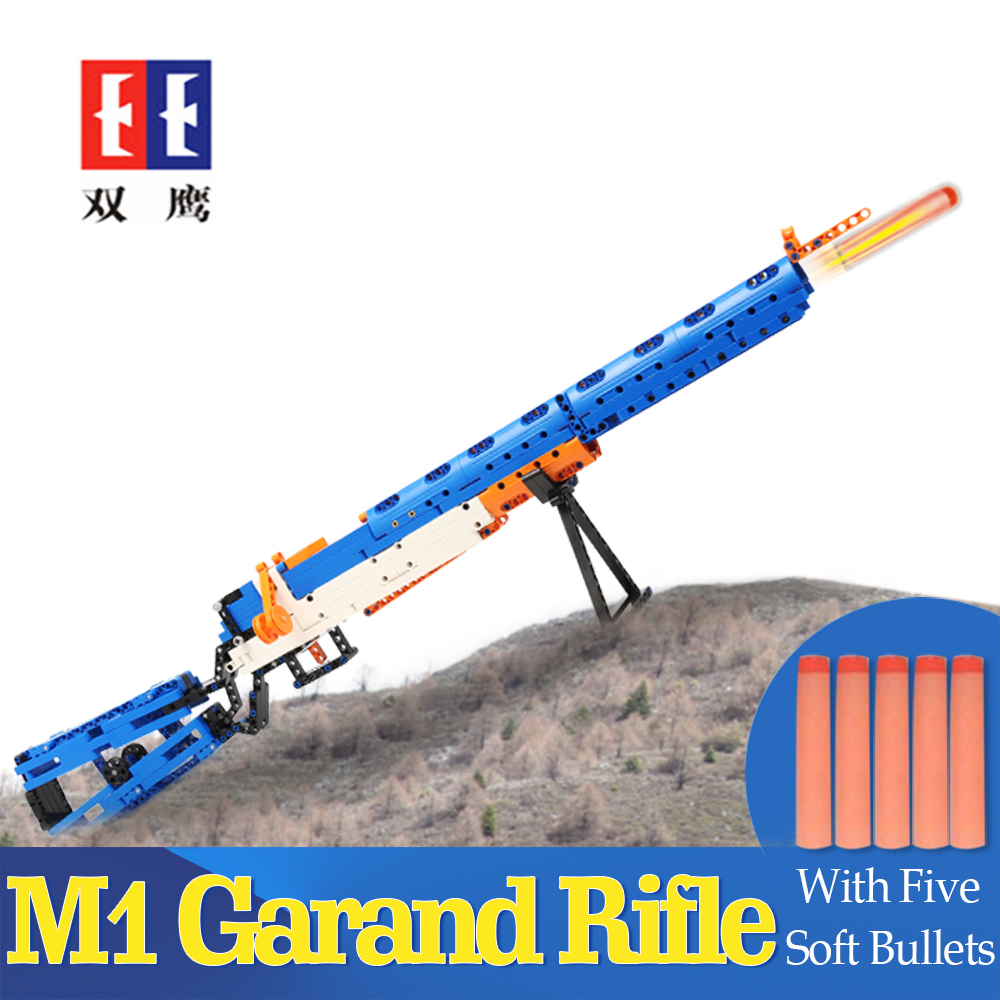 rubber band  gun  AK-47 Garand Rifle  Gun military bricks weapon set can fire building blocks toy for children gift