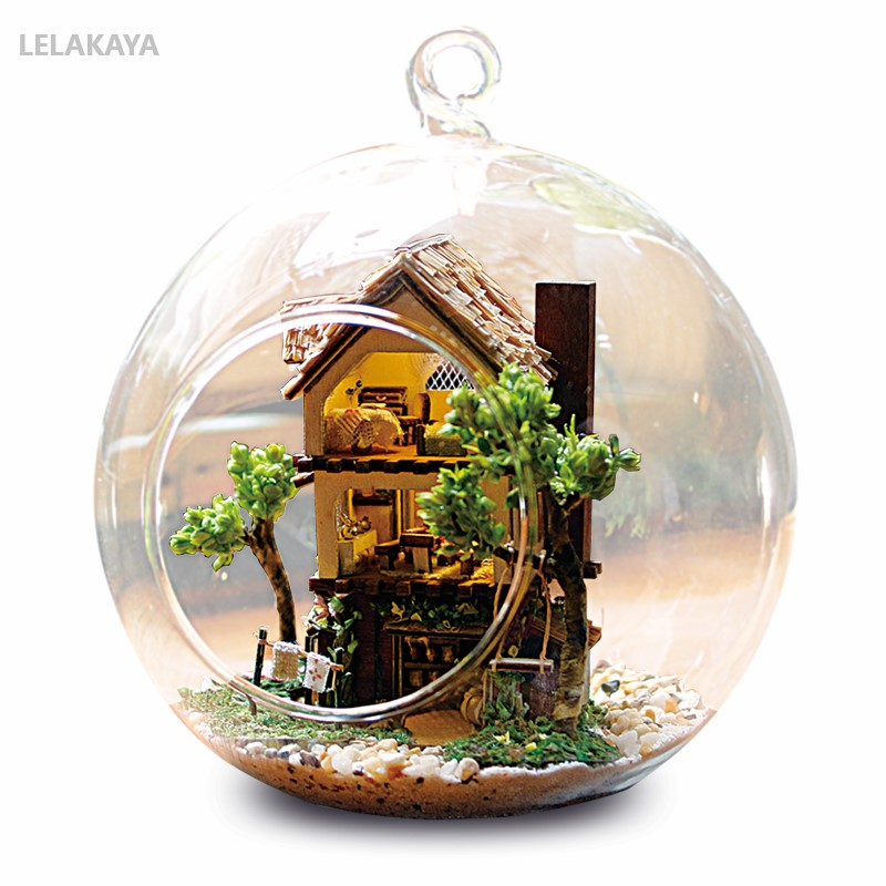 Lovely Diy Wooden House Miniaturas With Furniture Diy Miniature Glass Ball House Dollhouse Toy For Children Christmas Gift Forest House Cheap Sales Model Building Toys & Hobbies