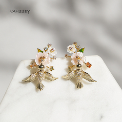 Vanssey Fashion Jewelry Flower Bird Natural Mother of Pearl Shell Enamel Cubic Zirconia Earrings Accessories for Women 2019 New