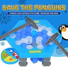Горячая спасти пингвина Катание на коньках дети Игра Головоломка сломать кубики льда молотки ловушка Классические Вечерние игры игрушки пингвин ловушка интерактивные смешная игра