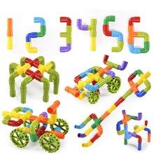 лучшая цена Educational Colorful Water Pipe Building Blocks Toys For Children DIY Assembling Pipeline Tunnel Block Model Toy For Kids Toys