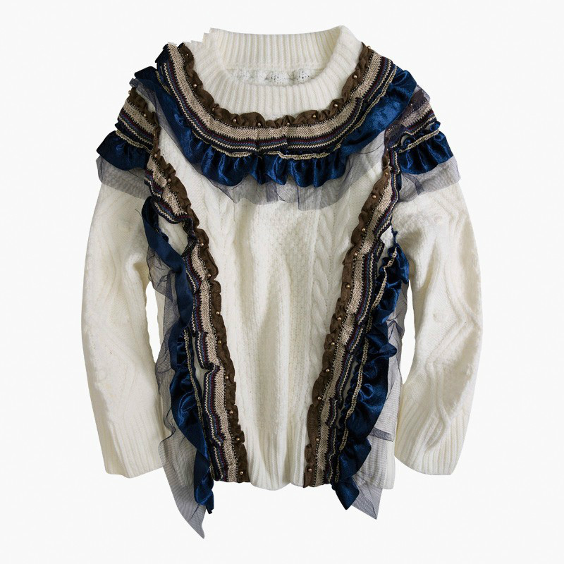 Patchwork maille pull pour femmes O cou à manches longues lâche perles tricoté pulls hauts femme mode vêtements nouveau R155