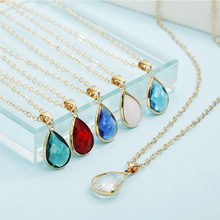 цена на Fashion Gem Stone Crystal Water Drop Pendant Necklace Druzy Quartz Charm Necklace For Women Jewelry