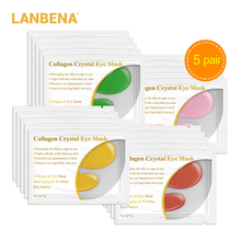 Lanbena 10pcs=5 Pair 24k Gold Eye Mask Collagen Patches Dark Circle Puffiness Bag Anti-aging Wrinkle Firming Skin Care