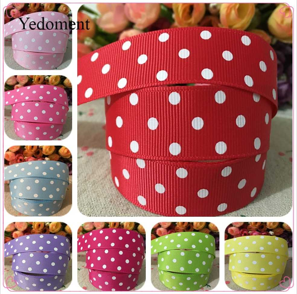 10 yards 7/8 ''(22mm) chấm polka in băng grosgrain DIY hairbow băng YM15113029