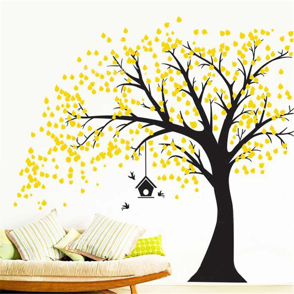 DIY PVC Green Yellow Tree Wall Stickers Vinyl Art Wall Decals Murals Removable Home Living Room Kids Playroom Decorations Crafts