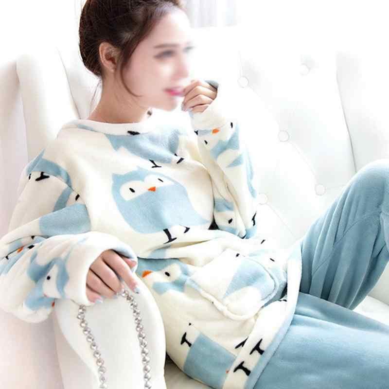 0d3dae4515 ... Women s Winter Home Service Cartoon Cute Pure Lark Bird Coral Fleece Suit  Flannel Pajamas Women Sleepwear