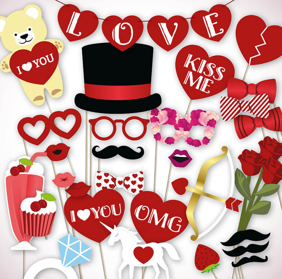 35pcs Valentines Day Photo Props LOVE Set bunting photo booth props Moustache