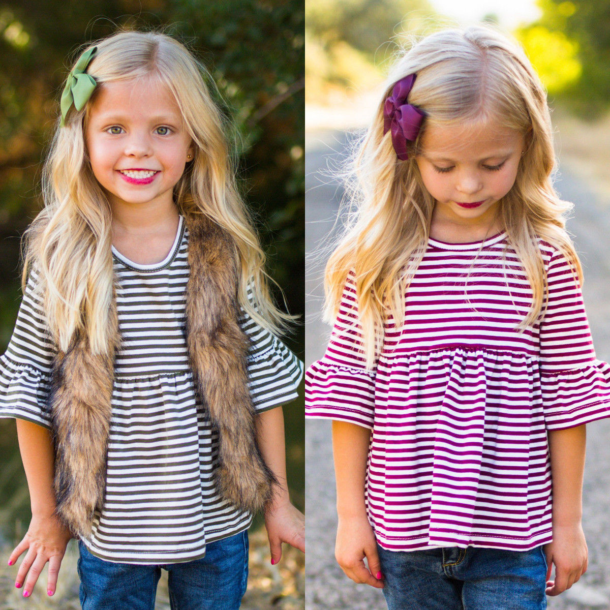 Shirts Bell-Sleeve Toddlers Girls Striped-Tee Kids Cotton Cute Top 1-6Y