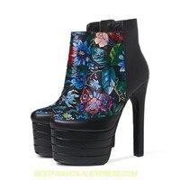 Зимние ботинки с цветочной вышивкой, ботильоны, короткие ботинки, обувь на танкетке, ботинки на платформе и очень высоком каблуке 15 см, женск