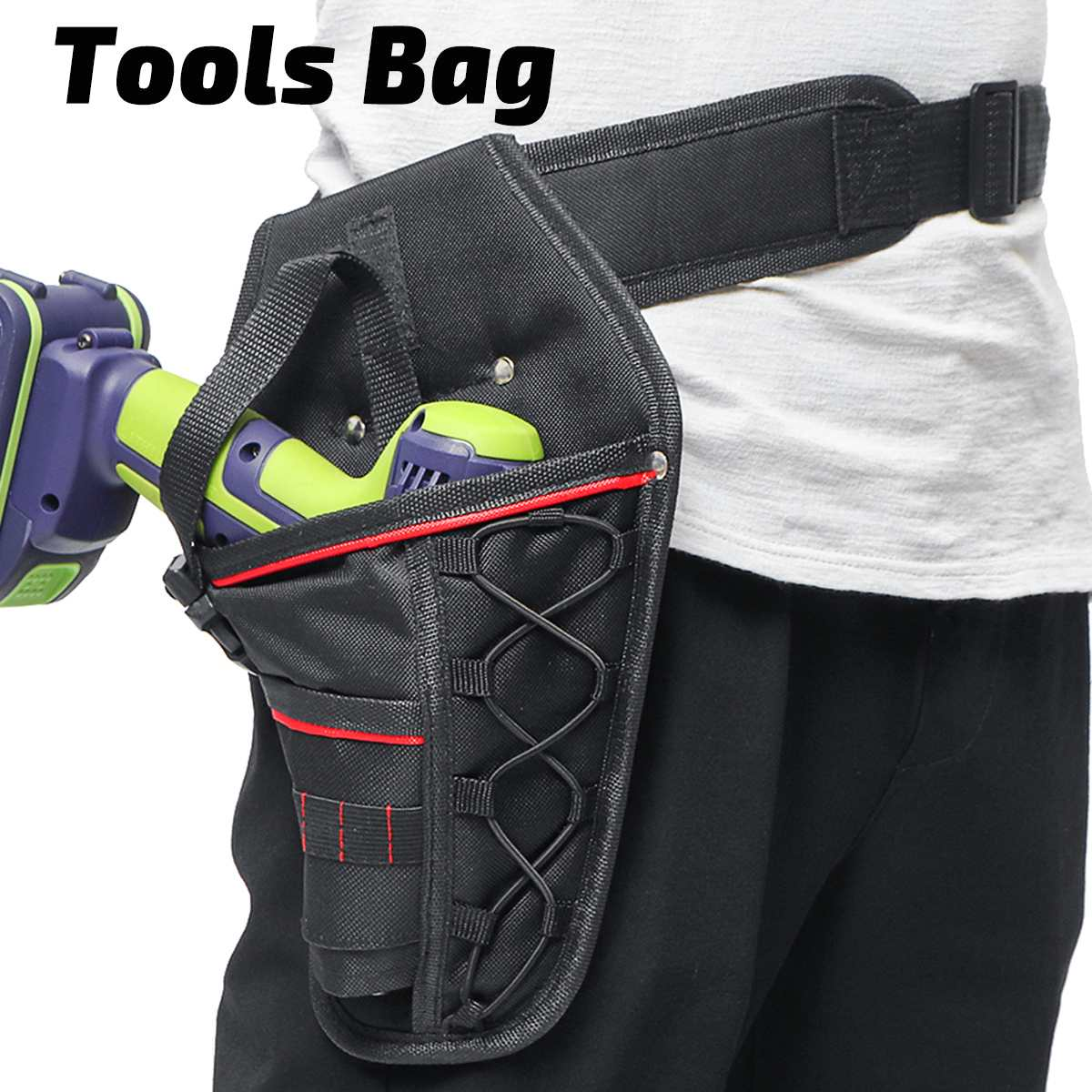 8 In 1 Portable Cordless Drill Electrician Tool Bag Multi-functional Electric Wrench Hammer Screwdriver Holder Waist Bag Pouch
