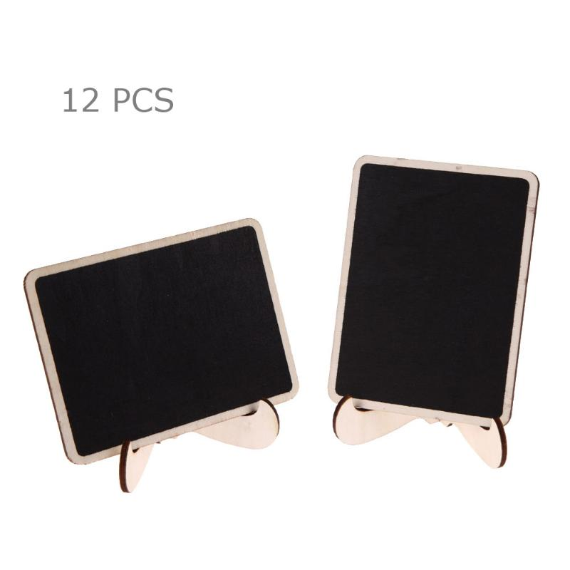 12Pcs DIY Assembled Mini Blackboard Wooden Message Black Board Wedding Party Labels Wood Chalkboard Notification Bulletin Board