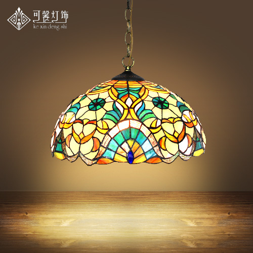 16inch Tiffany Europe Style Baroque Bohemia Pendant Light Stained Glass Bedroom Dining Room Kitchen Hanging Light E27|Pendant Lights|   - title=