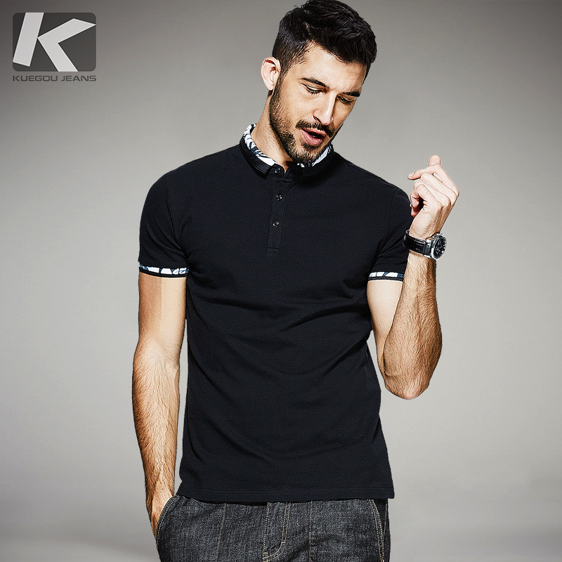 KUEGOU 2019 Summer Cotton Patchwork Black   Polo   Shirt Men Fashions Short Sleeve Slim Fit Poloshirt Male Clothes Brands Top 1545