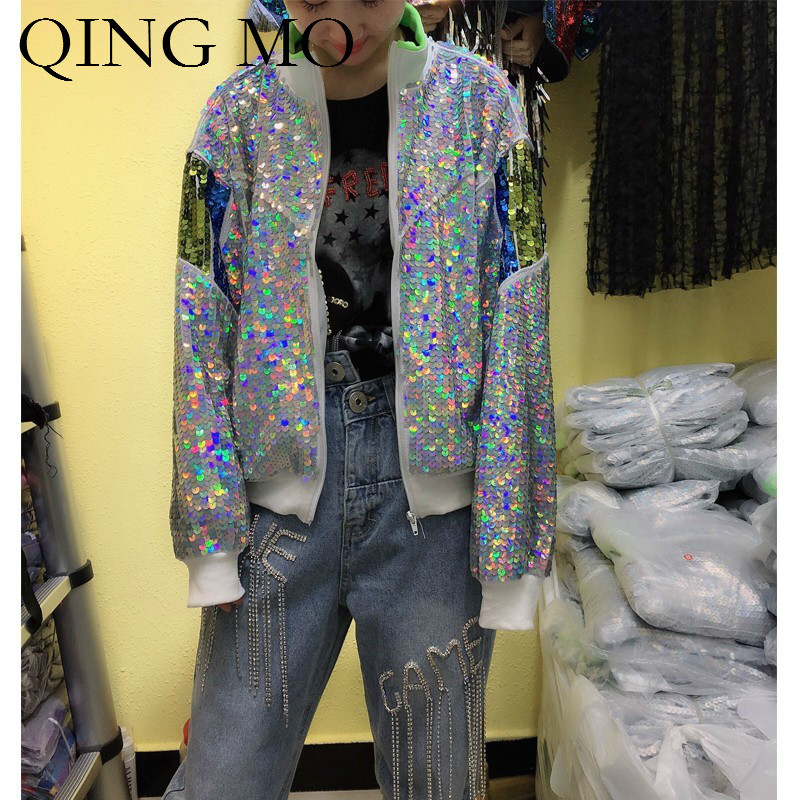 QING MO Women Full Sleeve Sequin   Jacket   Casual Style Women Silver Zipper Streetwear Loose   Basic   Lady Outwear ZQY337