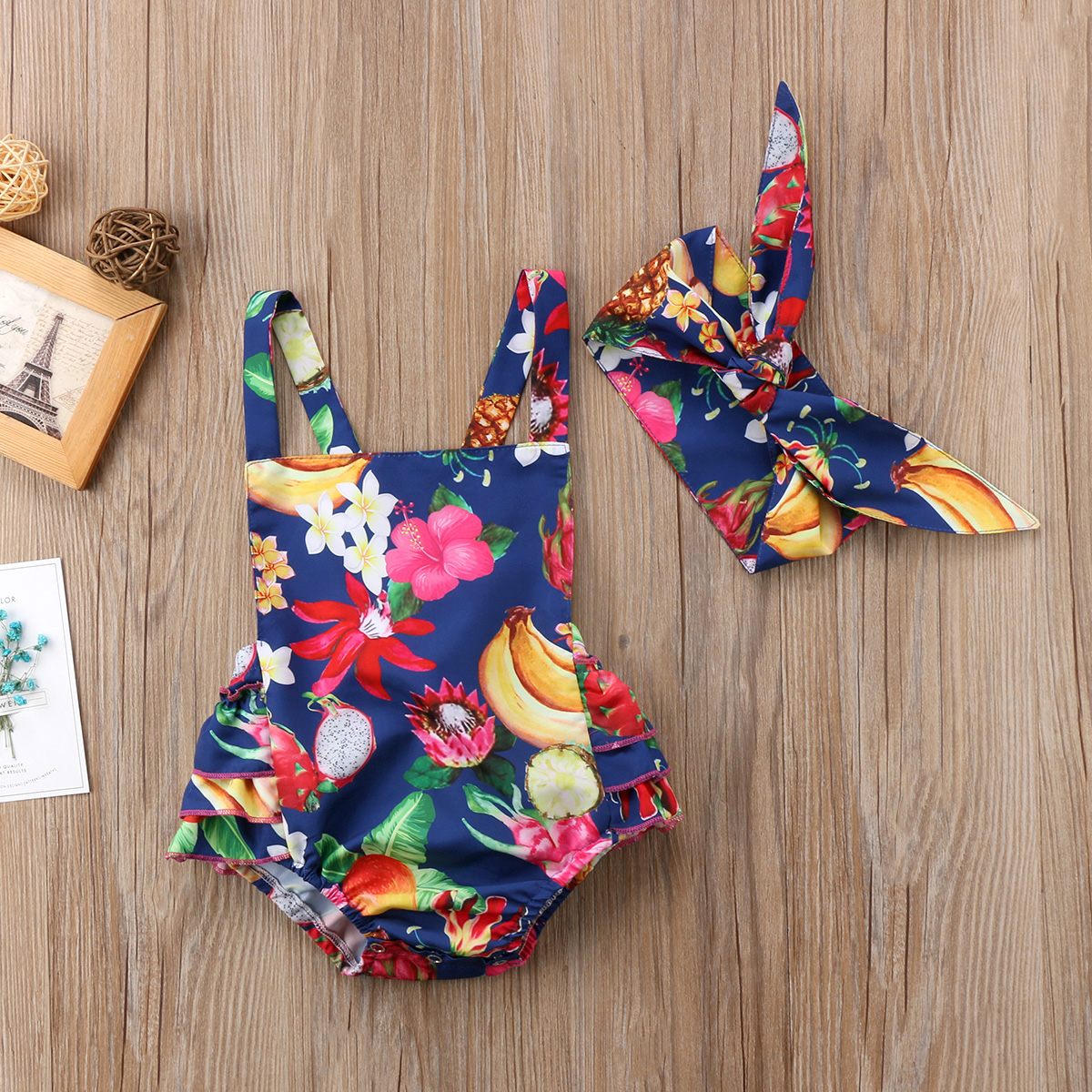 Pudcoco Girl Jumpsuits 0-24M Tropical Fruit Newborn Baby Girl Clothes Flower Jumpsuit Romper Outfits