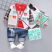 Spring Infant Clothing Girls Boys Casual Clothes Baby Cartoon Jacket T-Shirt Jeans 3pcs/Set Children Fashion Leisure Cotton Suit недорого
