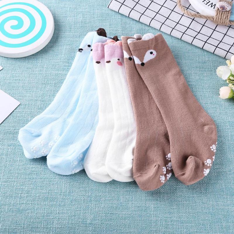 1 Paar Baby Cartoon Jungen Mädchen Nicht-slip Socken Infant Weiche Baumwolle Knie Socken