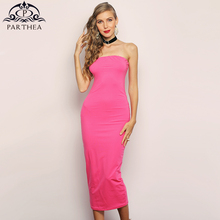Parthea 2 Layers Pink Elegant Dress Women Off Shoulder Tight Sexy Beach Casual Long Pencil Green Robe Femme 2019 New