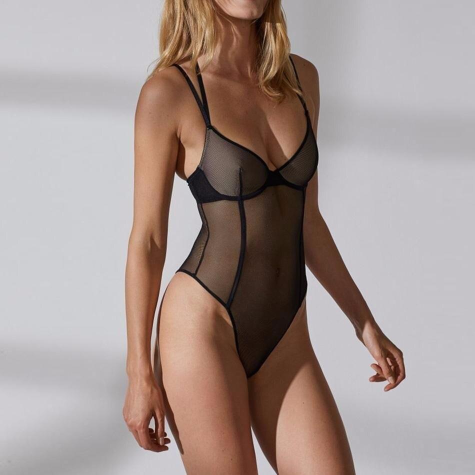 HYH HAOYIHUI Costumes Women Plus Size Sexy Lace Modis Overall Bodysuit One Piece Body Top Playsuit Mesh Transparent Jumpsuit